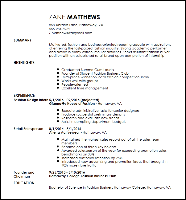 sample resume for entry level buyer