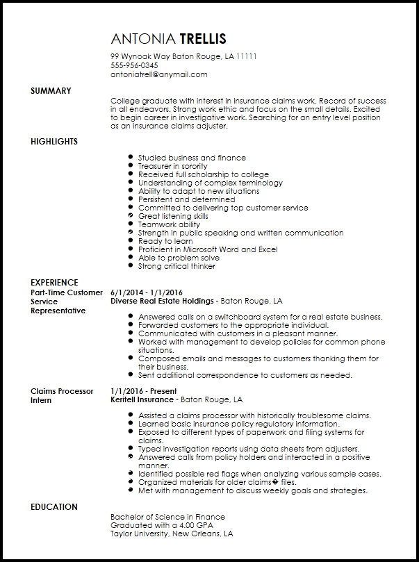 resume example for insurance secretary