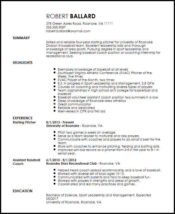 athletic coach resume template