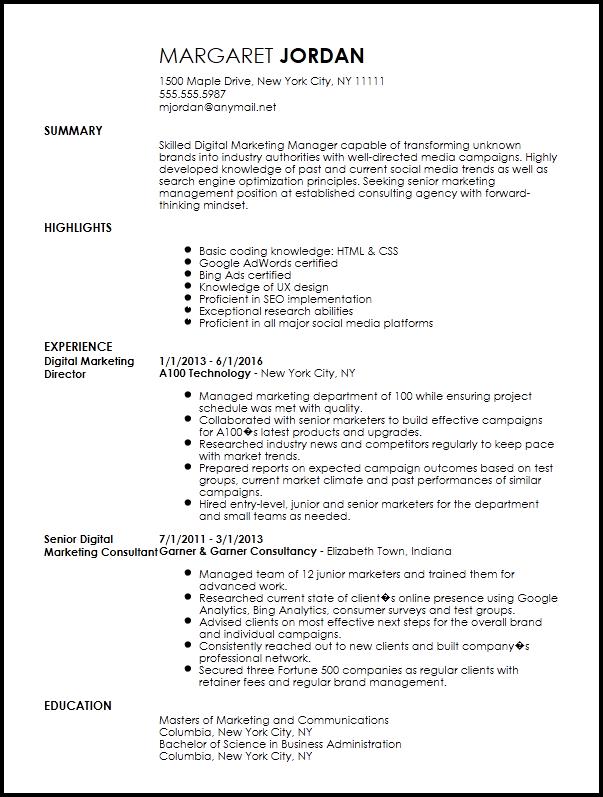 best marketing manager resume sample