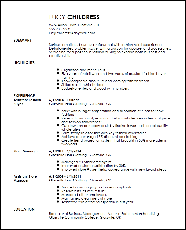 buyer cv sample