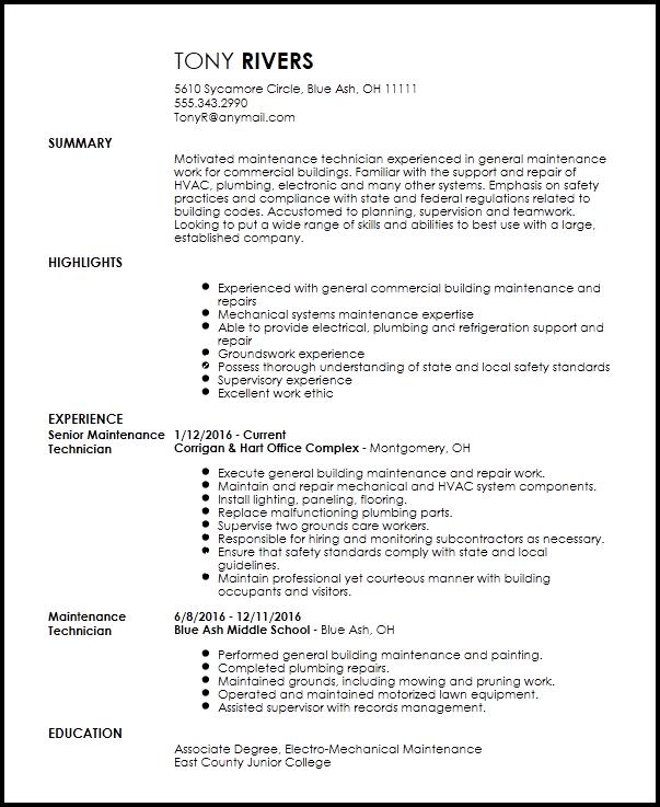 school building maintenance resume examples