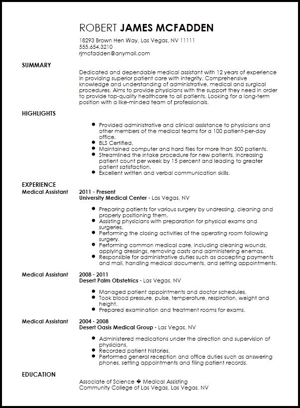 medical administrative resume templates