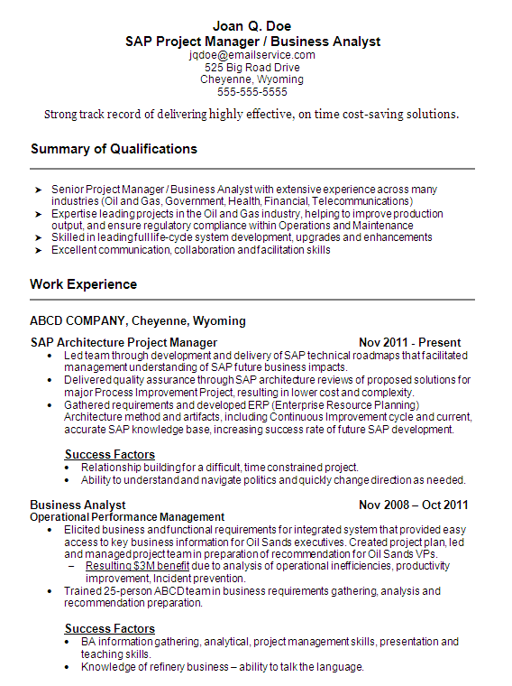 sap project manager resume templates
