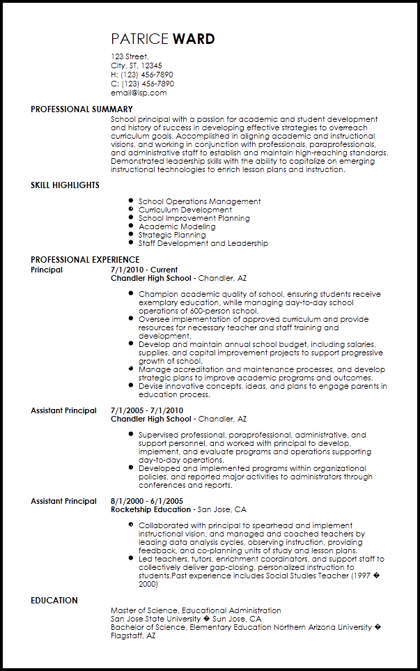 resume example for education principal