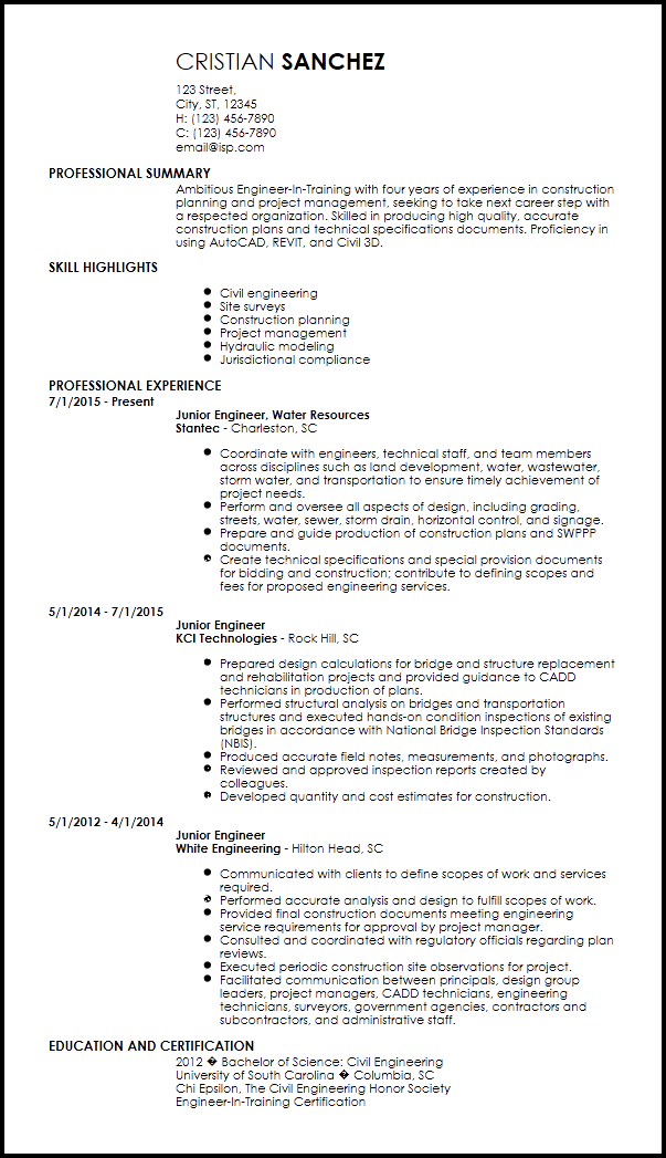 quality control construction resume