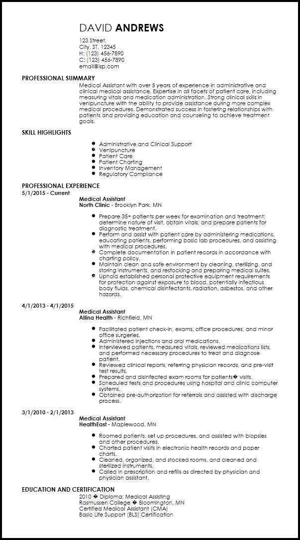 resume for clinical medical assistant