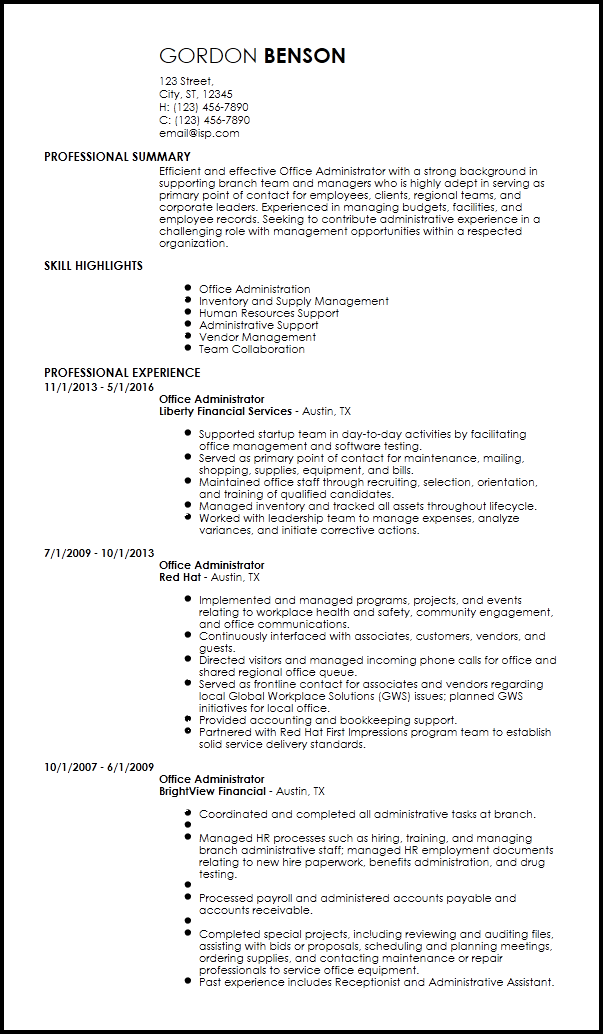 examples of office administrator resume