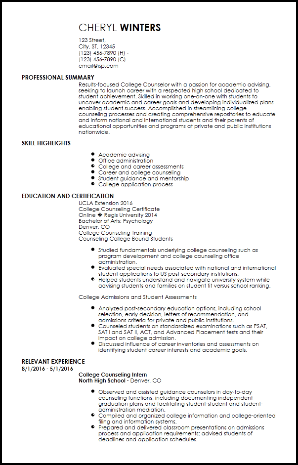 resume examples school counselor entry level