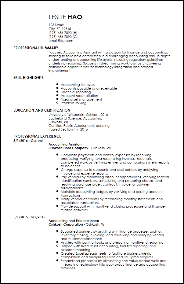 entry level tax accountant resume sample