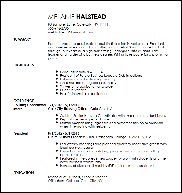 resume examples for leasing consultant
