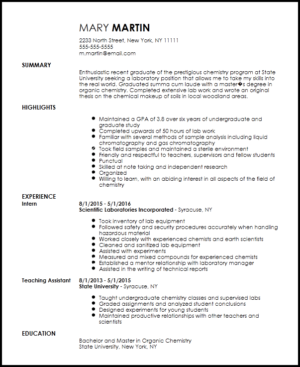 chemistry resume with no experience