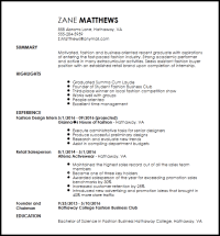 Free Entry Level Fashion Assistant Buyer Resume Template ...