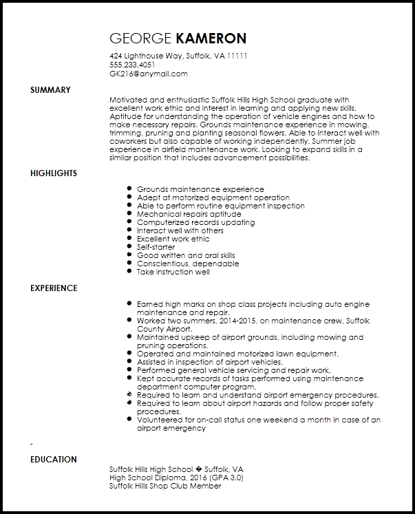 sample resume for entry level maintenance technician