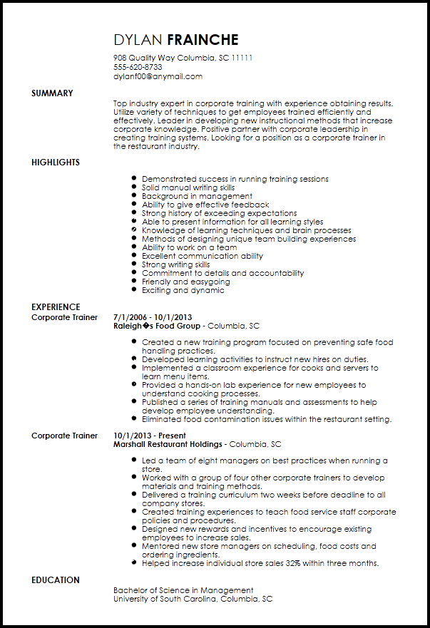 resume example showing training it