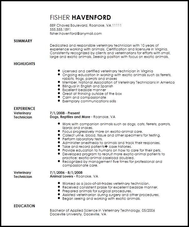 free veterinary technician resume templates