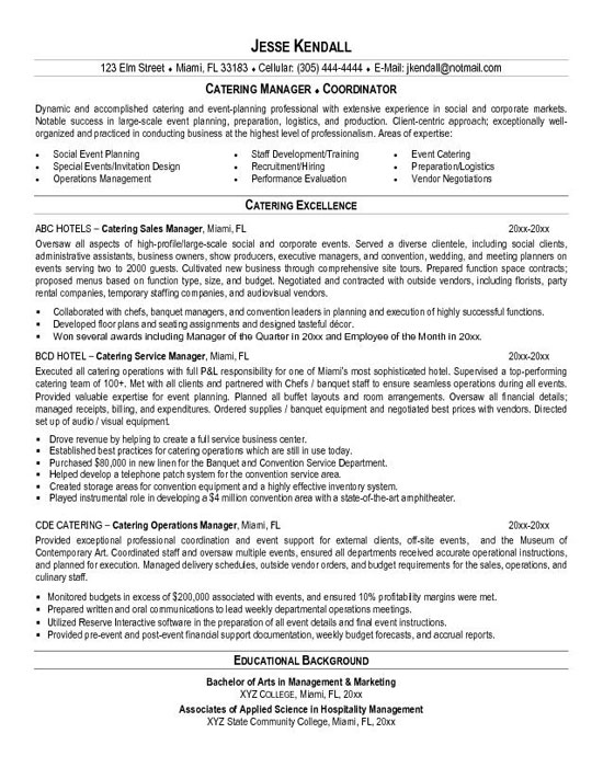 catering chef resume samples