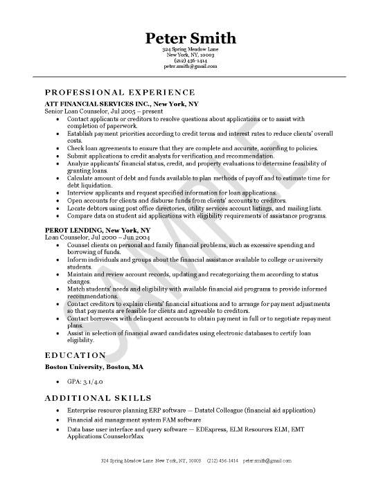 loan servicing resume examples - canadian resume example