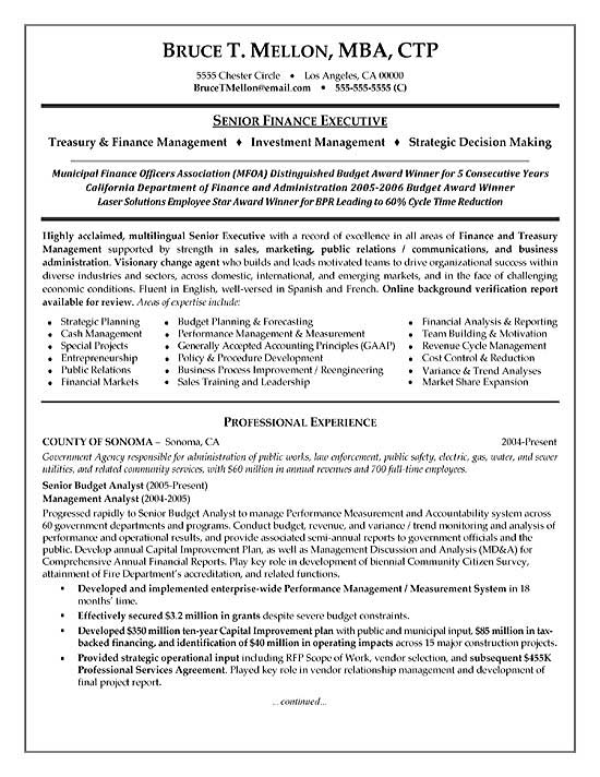 Manager Resume Example - director of finance resume