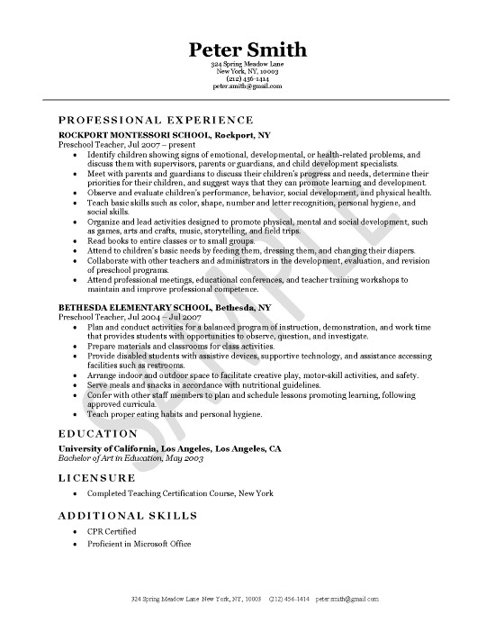 Daycare Teacher Resumes Samples. Sample Day Care Teacher Resume