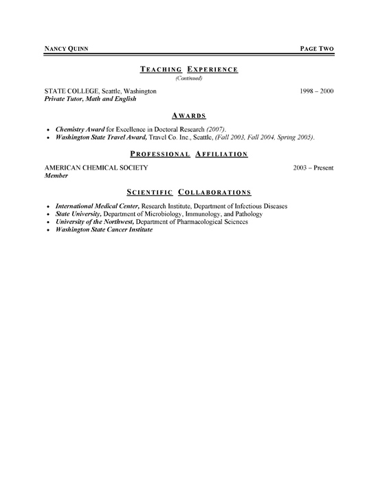 Graduate Student Resume Example - Sample - examples of cv