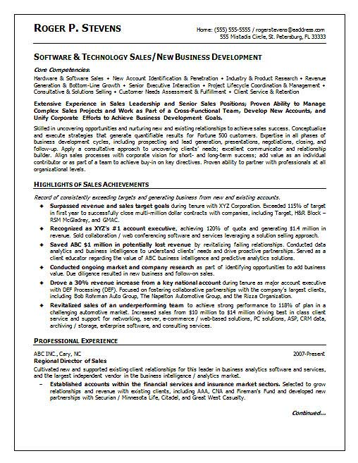 Sales Resume Example - resume sales examples