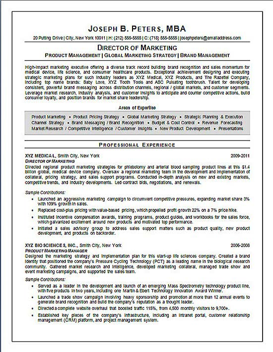 Director of Marketing Resume Example - Sample - marketing director resume examples