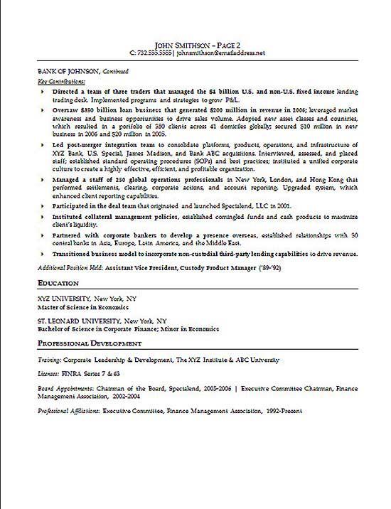resume in finance