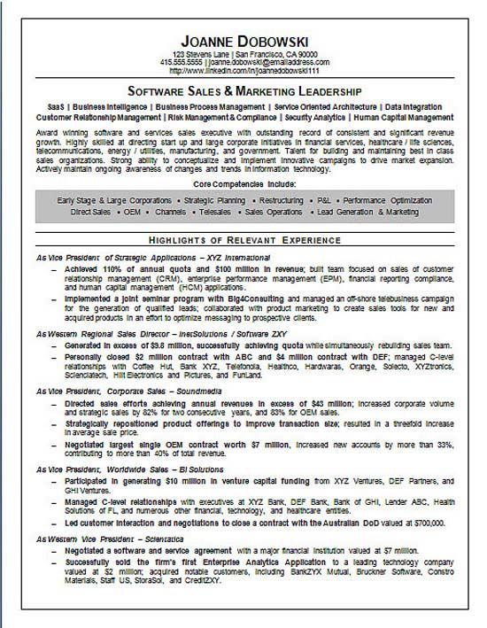 enterprise software sales resume examples