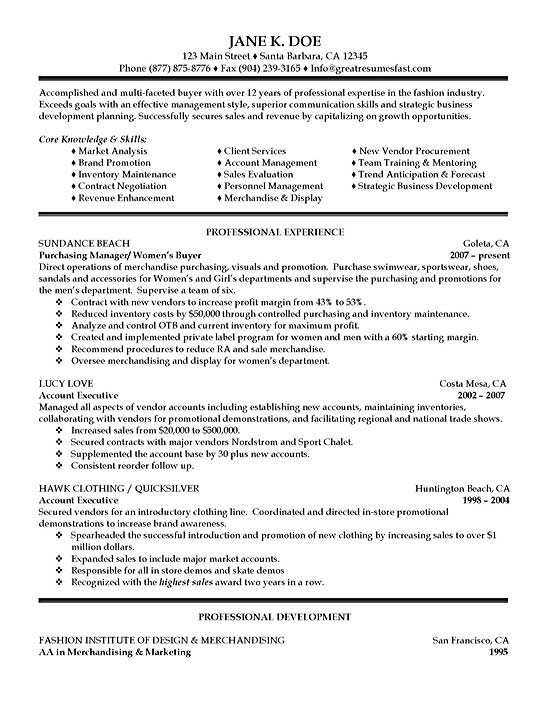 retail buyer resume objective examples