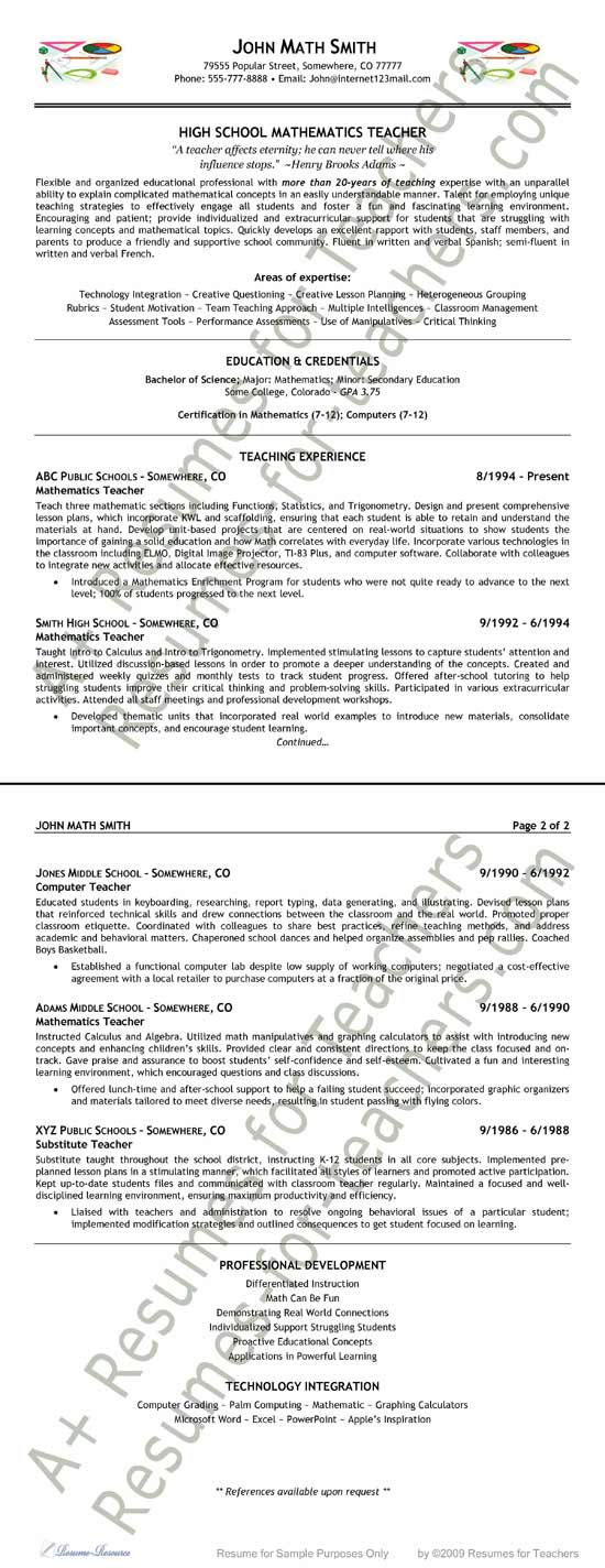 Teacher Resume Example - middle school resume