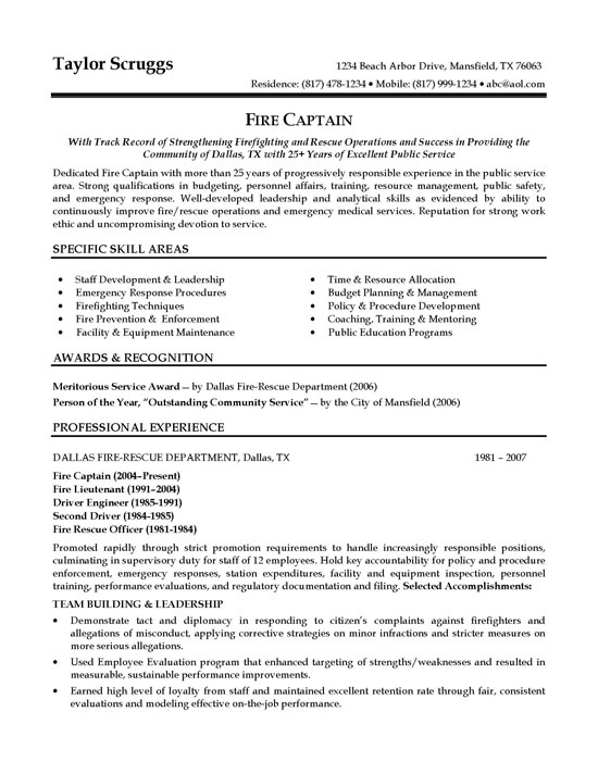 fire captain resume sample
