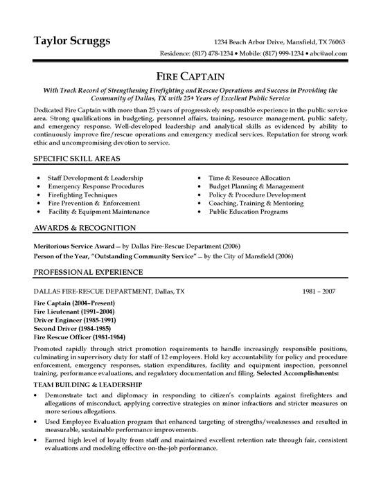 captain resume example