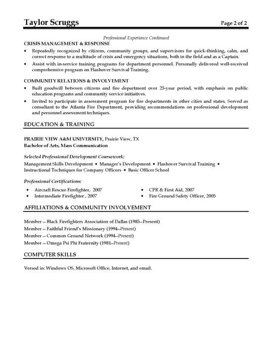 Fireman Resume Example - probation officer resume