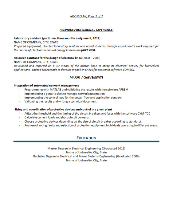 Electrical Engineer Resume Example - biomedical engineer resume