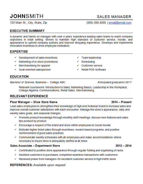 resume cover letter for retail store manager sample