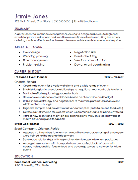 Resume for event coordinator