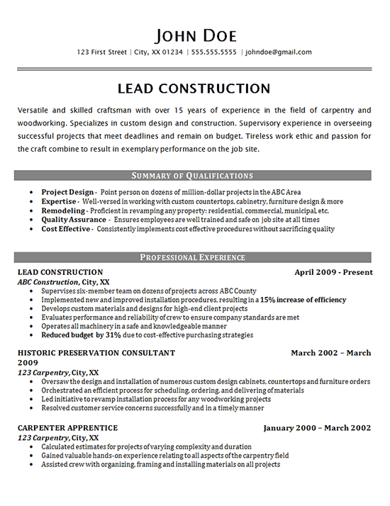sample of a construction worker resume