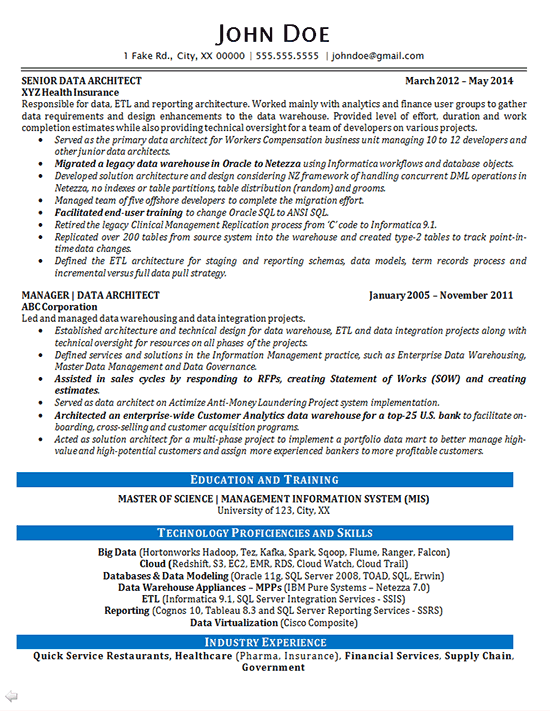 Information Technology It Consultant Resume Example Data Architect Resume Example Data Analytics It Consultant