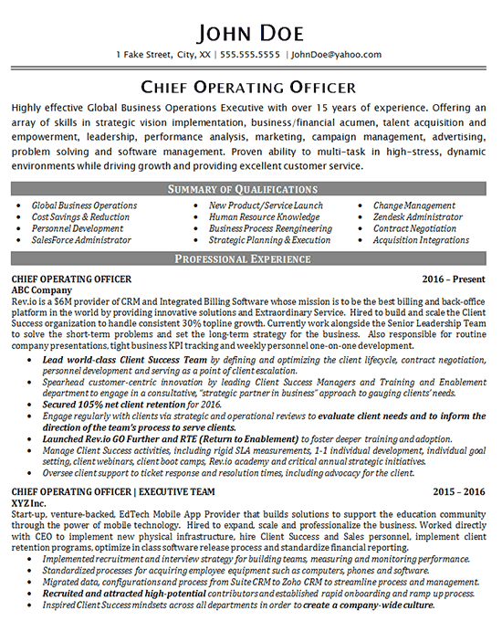 Chief Financial Officer Resume Sample Chief Operating Officer Global Business Operations