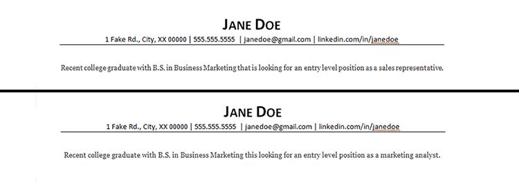 resume headline examples for customer service