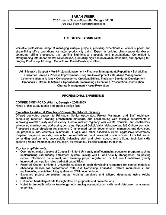 Executive Assistant Resume Example - Sample - Sample Professional Summary Resume