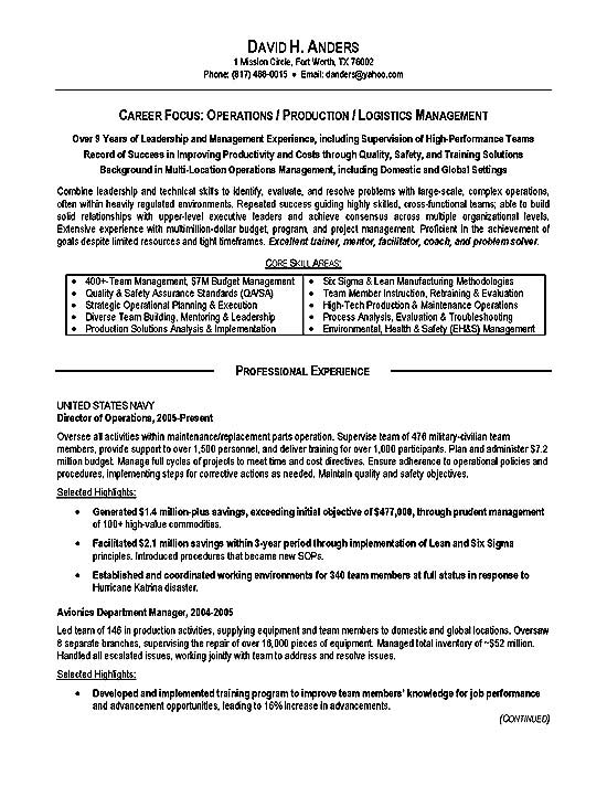 professional resume examples military