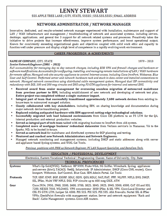 resume manager experience examples