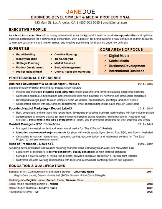 marketing and business development resume sample