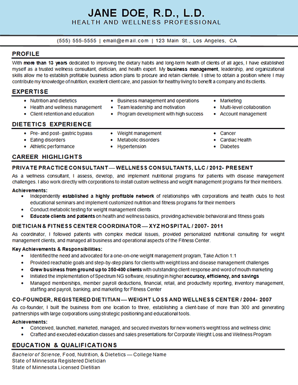 health educator resume examples