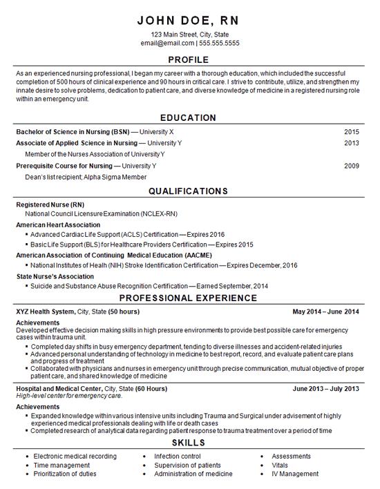 resume nurse career profile examples