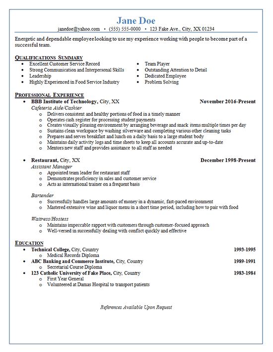 resume samples restaurant worker