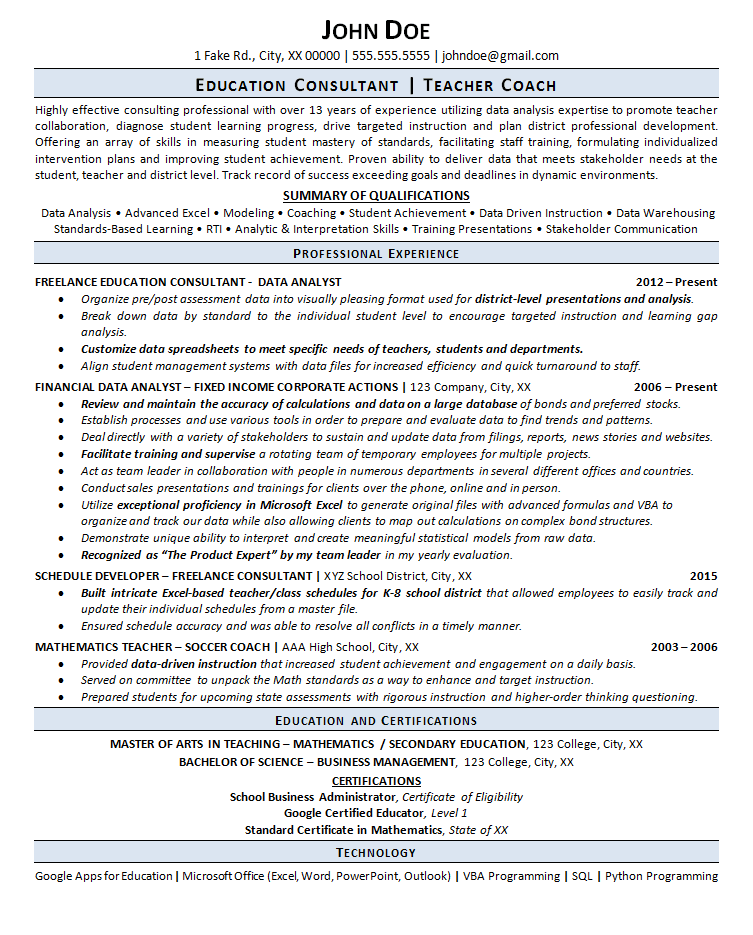 professional teacher resume examples