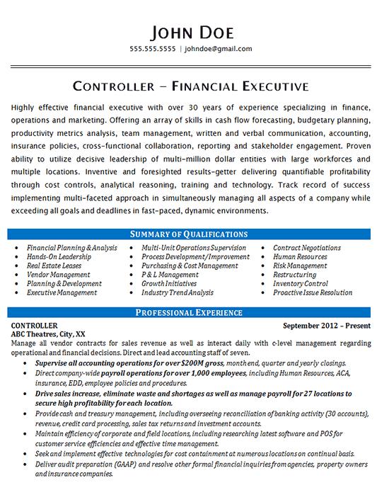 financial controller resume examples